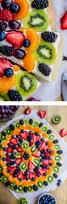 Chicago Style Fruit Pizza from The Food Charlatan. A classic sugar cookie crust with cream cheese frosting and all. This is an enormous pizza, and the crust is nice and thick, so call the neighbors over. Fruit pizza is the best for summer! Healthy Recipes, Fruit Recipes, Pizza Recipes, Summer Recipes, Healthy Snacks, Dessert Recipes, Cooking Recipes, Just Desserts, Delicious Desserts