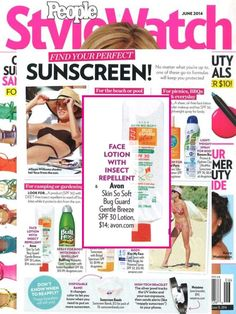 Looking for the perfect suncare? @ People Style Watch magazine featured their fave's and we spot Avon Skin So Soft Bug Guard Plus: get yours today online at www.youravon.com/my1724 free shipping and 20% off use coupon code: THANKYOU20 when you checkout.