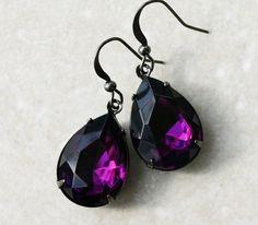 Amethyst Earrings  Teardrop Crystal Gunmetal by robinhoodcouture, $18.00