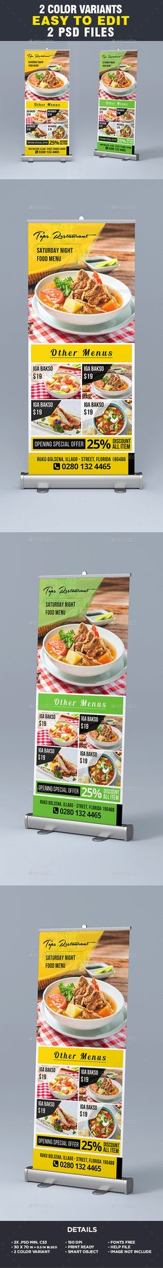 Restaurant Menu - Food Menu Roll-Up Banner by ivanjoys19 All elements beside the image are fully editable CMYK – print ready30x70 in   0.5 in. bleedFiles included:- 2 x PSD Files(CS3)-