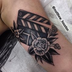 Fun clapper board also for Siobhan. #clapper #black #movies #rose #traditional #tattoo  @sevendoorstattoo