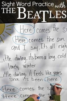 Here Comes the Sun- Beatles Sight Word Practice. This would be so much fun with my class. I have some that would fall in love with the song too!