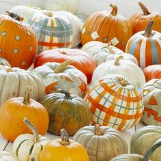 plaid pumpkins super cute for those of us that arent' into the scary halloween stuff