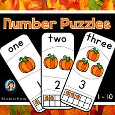 Self correcting pumpkin number puzzles,  1 to 10.  Perfect for hassle free Math centers. $