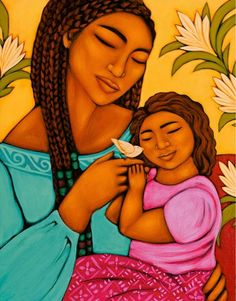 Mother-Daughter Body Gratitude Ritual - Journey Of Young Women Mexican Moms, Mother Images, Mexico Art, Indian Folk Art, Ethnic Print, Mother And Child, Bird Prints, American Art, Female Art