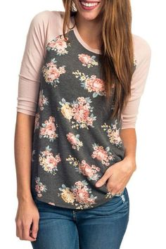 f13fa5fbf6 Fashion Pink Raglan Sleeve Floral Womens Top