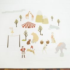 Wall Decals Circus (Reusable and removable fabric stickers, not vinyl) - Faraway Circus LoveMaestore on Etsy