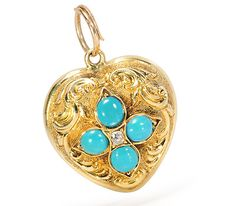 Heart Within a Heart: Pendant with Locket Back  - The Three Graces       Here we have a wonderful 14k Yellow Gold Heart Pendant with a Locket back. The front is domed shaped with repoussé work with a scroll motif with a centered quatrefoil design set with four Natural Turquoise Cabochons about an Old Mine cut Diamond center.  1,650 USD The Three Graces