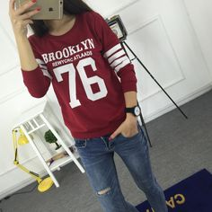 Cheap sweatshirt print, Buy Quality sweatshirt jacket directly from China hoodie zip up hood Suppliers:        Sudaderas 2015 Fashion Harajuku Style Hoodies Sweatshirt Truien Women Crewneck BROOKLYN 76 Printed Hoody Tr