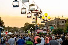 Iowa State Fair skyrider and grandstand Des Moines, Iowa by Dale Bentlage #iowa #statefair #state_fair #fair #desmoines #summer #roadtrip #travel #vacation #staycation