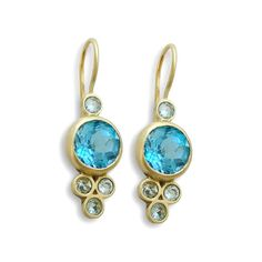 Blue Topaz gold earrings14K gold Small Turquoise by artisaneffect