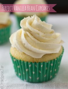 Easy, perfect vanilla bean cupcakes with buttermilk and sour cream to help achieve the perfect crumb. Vanilla bean paste in cupcakes gives great flavor. Super Moist Vanilla Cupcake Recipe, Vanilla Bean Cupcakes, Yummy Cupcakes, Healthy Cupcakes, White Cupcakes, Vanilla Frosting, Buttercream Frosting, Cupcake Recipes, Baking Recipes