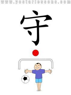 守 = defend. Imagine a goalkeeper defending the goal under the sun. Detailed Chinese Lessons @ www.yostarlessons.com