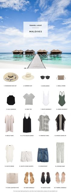 What to pack for a tropical escape to the Maldives. 20 items, 10+ days/outfits, 1 carry on suitcase. #travellight #packingtips #traveltips