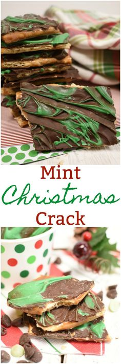Mint Christmas Crack is a fun variation of the super easy, super addicting saltine cracker toffee! Love this candy!
