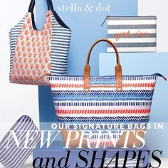 """These are your """"Must Have"""" bags that are so versatile and functional.  Timeless! Summer is here, pack your bags in style with Stella & Dot!"""