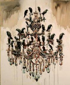 Samuli Heimonen, chandelier, crows, murder of crows Chandelier Art, Chandeliers, Pagan Art, Night Forest, Crows Ravens, Magic Realism, Pop Surrealism, Art For Art Sake, Dark Beauty