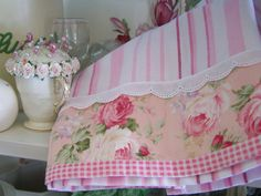 Shabby chic and Romantic cottage. A delightful tea towel-love fabric combo! | www.createdbycath.com