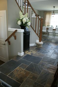 Slate tile entryway ideas tile floors slate entryway home decorations Slate Flooring, Flooring Options, Kitchen Flooring, Slate Floor Kitchen, Black Slate Floor, Hallway Flooring, Kitchen Tile, Flooring Ideas, Floor Design