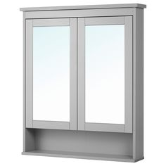 HEMNES High cabinet with mirror door, gray, 19 You can move the shelves and adjust the spacing according to your personal needs. The mirror comes with safety film on the back, which reduces the risk of injury if the glass is broken. Ikea Hemnes Mirror, Ikea Mirror, Bathroom Mirror Cabinet, Mirror Cabinets, Mirror Door, Bathroom Cabinets, Bathroom Furniture, Cabinet Doors, Bathroom Interior