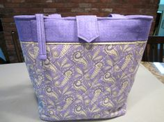 Purple and Green Quilted Tote Bag by MavysTotes on Etsy