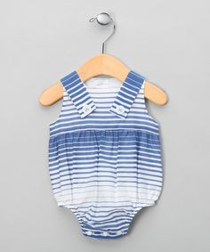 Take a look at this Blue Stripe Button Bubble Bodysuit - Infant by Fina Ejerique on #zulily today!