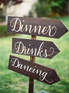 Lead the way with pretty calligraphy signs! Photographer: Jessica Burke via Style Me Pretty