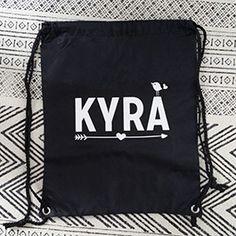 Rugzakje kids met naam Kyra n.a.v. #geboortekaartje #suededesign
