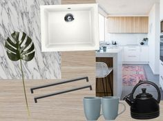 We are loving the look of this modern kitchen with our EcoGranit sink, Sarnen handles, Arborite in Arabescato Marble for the benchtop or Arborite Woodgrain laminate in Classic Elm for cabinetry. Pair with pale blue, black and white accessories to complete the design.