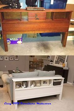 4 Easy Steps For Developing A Sunroom Bookcase Head Board To Sofa Table Cheap Furniture Makeover, Diy Furniture Renovation, Diy Furniture Projects, Repurposed Furniture, Home Decor Furniture, Diy Furniture Flip, Chair Makeover, Furniture Refinishing, Refurbished Table