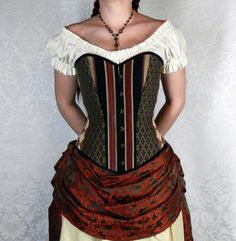 "(My favorite Etsy store and the lady that runs it is awesome! I've been wearing victorian corsets and ren faire bodices for 17 year, and she does great work!) Victorian Patchwork Sweetheart Neckline Overbust Corset -- Deluxe -- Black, Russet, & Antique Gold -- Fits Bust 36""-39"", Waist 29""-31"""