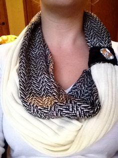 Black and White Button Scarf