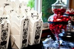 Chick's Candy Buffet :  wedding black candy bar candy buffet damask red white Candy Boxes