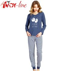 Poze Pijamale Vienetta Secret, Bumbac 100%, 'Is Anyone Out There' Blue