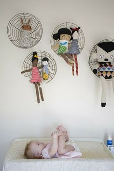 my scandinavian home: Children's bedrooms - love the wire planter baskets used as shelves