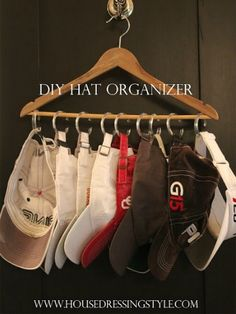 Shower Curtain Ring Organizing Ideas - New Uses for Shower Curtain Hooks - Good Housekeeping - to hold baseball hats