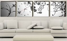 FRAMED Black & White Floral Wall Clock On Quality Canvas Prints Set Of 4