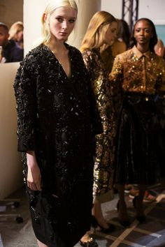 Decadent black embellished outerwear at Rochas AW14 PFW. Shot by Jaques Habbah. More images here: http://www.dazeddigital.com/fashion/article/19043/1/rochas-aw14