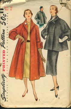 Coat and Topper Pattern - Simplicity 8449 - Size 40 Bust 40 - Vintage Shawl Collar Coat Pattern - Swing Coat - Large Size Vintage by TheBrightonEmporium on Etsy Vintage Dress Patterns, Coat Patterns, Vintage Dresses, Vintage Outfits, Skirt Patterns, Blouse Patterns, Vintage Coat, Mode Vintage, 50s Vintage