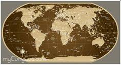Reusable Self Adhesive Political World Wall Map from Curly Cue World Map Decal, Interior Decorating, Interior Design, Wall Maps, Map Art, Adhesive, Rustic, Curly, Dining Room