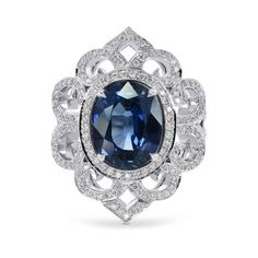 An amazing, dazzling deep blue #sapphire ring fit for Royalty. A perfect example of #highjewelry and perfect #glam