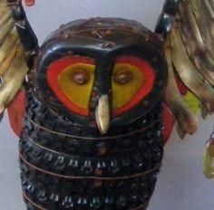 owl. wood, cloth, metal & found objects by artist geoffrey gorman