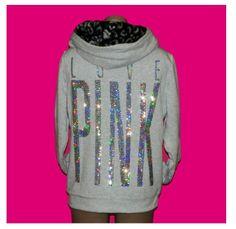 Victorias Secret PINK hoodie Bling Cheetah Fur Sequins