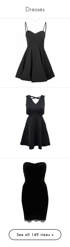 """Dresses"" by smilxngstars on Polyvore featuring dresses, vestidos, black, short dresses, sweetheart cocktail dress, night out dresses, mini dress, vintage style dresses, short cocktail party dresses und sleeveless dress"
