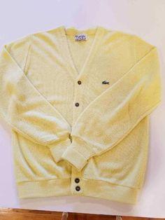 609985099d7f4 Izod Lacoste Mens XL Vintage Yellow Cardigan Sweater V-Neck Orlon Acrylic  U.S.A.  fashion