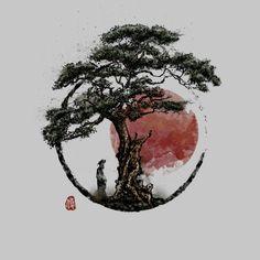 Sunset In Huangshan Art Print By Design By Humans Mini Tattoos, Body Art Tattoos, Olive Tree Tattoos, Samurai Artwork, Tattoo Pain, Japanese Tattoo Art, Tattoo Clothing, Samurai Tattoo, Mandala Tattoo Design