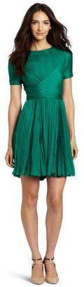 POPSUGAR Shopping: HalstonWomen's Short-Sleeve Crewneck Pleated Dress