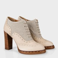 Stone Dunst Heeled Brogues (Paul Smith Shoes, $725.00) - smooth stone leather uppers, tonal linen trims, brogue detail, tan leather soles, chucky heel, rustic whimsy.