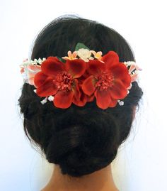 Red floral crown boho accessory music festival by EmpireDreams