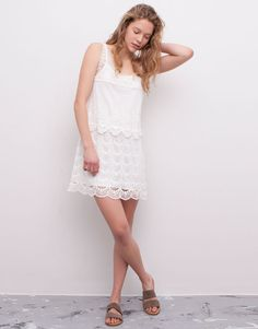 Pull&Bear - woman - dresses - white lace dress - ice - 05392332-V2015